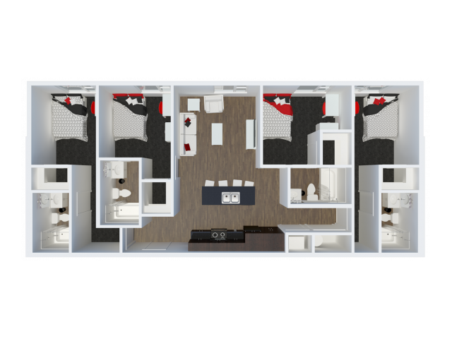 D1B3 with private balcony | 4 Bdrm Floor Plans | The Cardinal at West Center | U of A Apartments Fayetteville AR