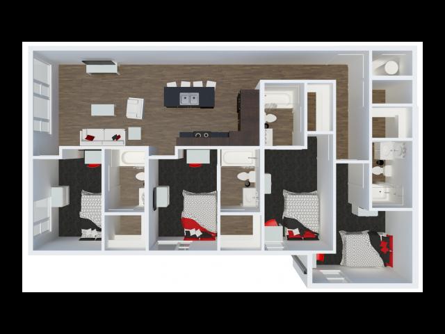 D3 floor plan | 4 Bdrm Floor Plan | The Cardinal at West Center | Fayetteville AR Apartments