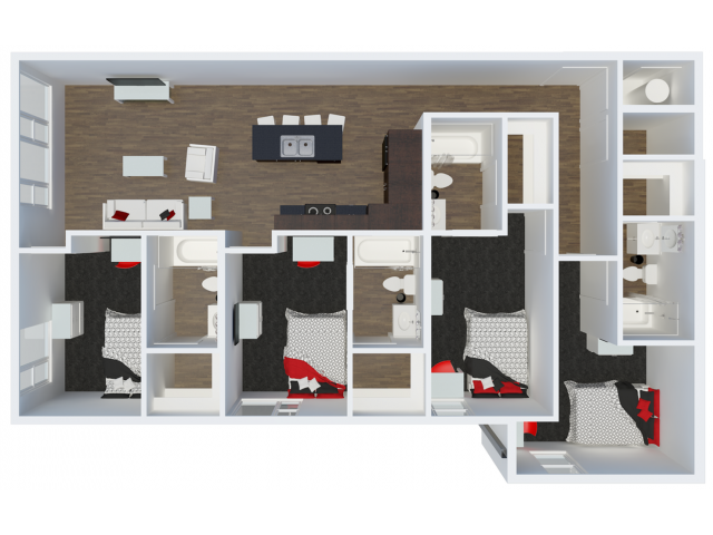 D3B1 4 Bdrm  Floor Plan | The Cardinal at West Center | Off Campus Apartments near University Of Arkansas