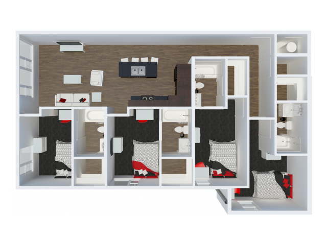 D3B2 with balcony | 4 Bdrm Floor Plan | The Cardinal at West Center | U of A Apartments Fayetteville AR