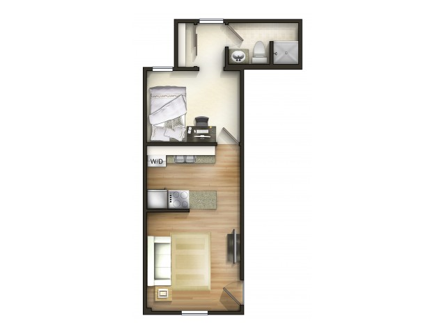 A1 Floor Plan | 1 Bedroom Floor Plan | The Commons | Miami University Off Campus Housing