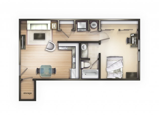 A2 Floor Plan | 1 Bdrm Floor Plan | The Commons | Student Apartments In Oxford OH