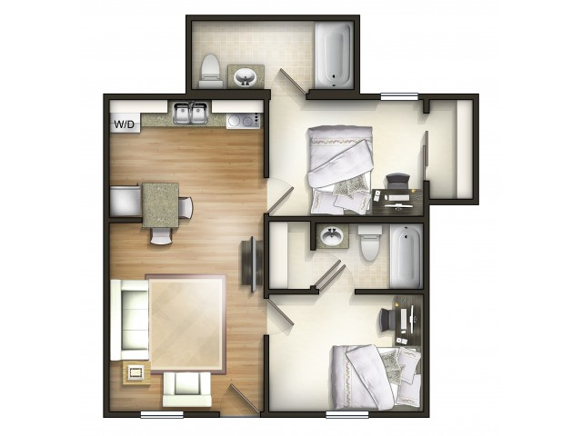 B1 Floor Plan | 2 Bedroom Floor Plan | The Commons | Miami University Student Apartments