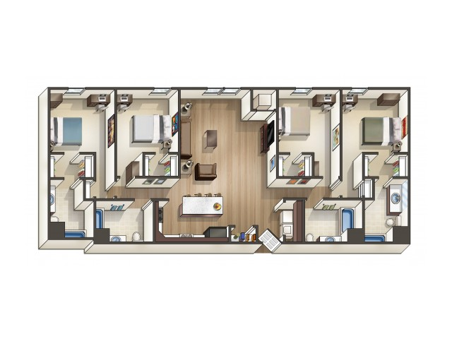D1 floor plan | 4 Bedroom | University Hills | Apartments Near University Of Toledo