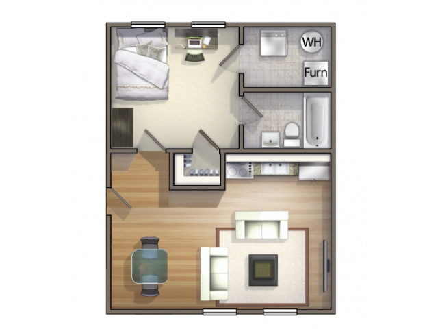 A1 Floor Plan | 1 Bedroom Floor Plan | University Village | Apartments In Carbondale IL Near Siu