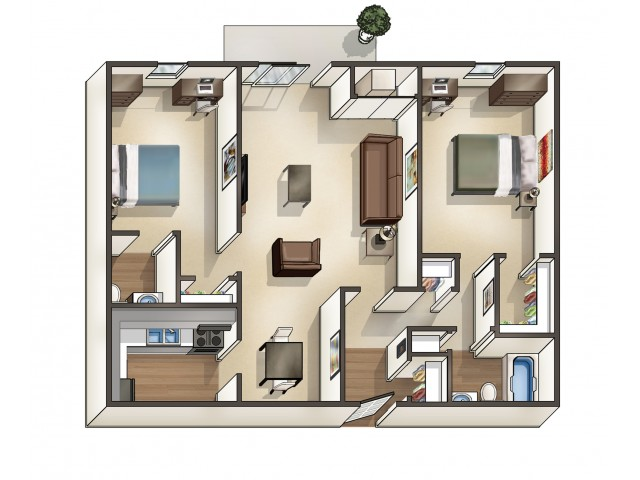 B2 Floor Plan | University Apartments Durham | Apartments Near Duke University