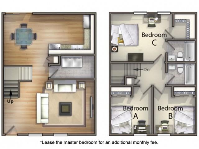 C1 Floor Plan   3 Bedroom Floor Plan   University Village   SIU Off Campus Housing