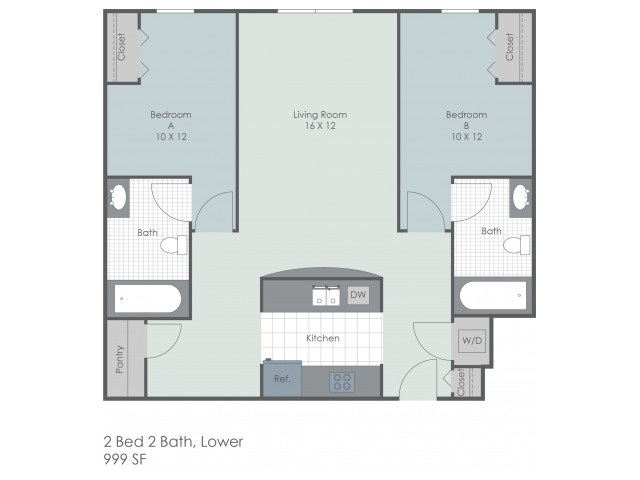 2x2 Bed Lower Floor Plan | 22 Exchange | Apartments Near University Of Akron