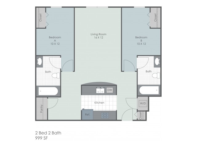 2x2 Bedroom 22 Exchange | Akron Apartments