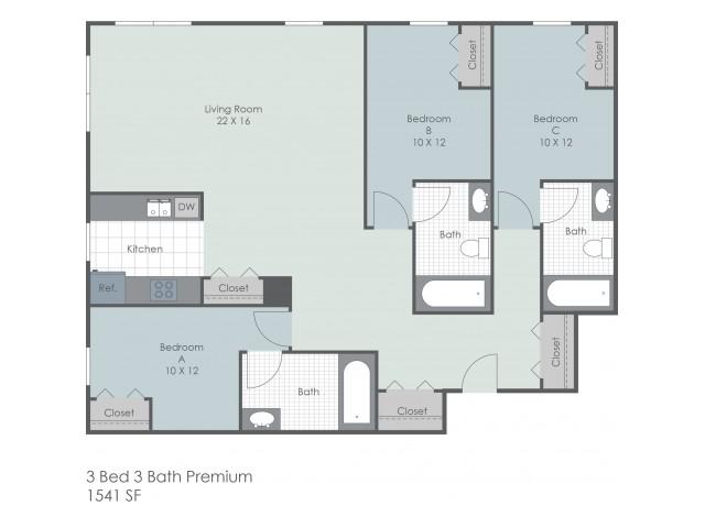 3x3 Bedroom Premium | 22 Exchange | Student Housing Akron, OH