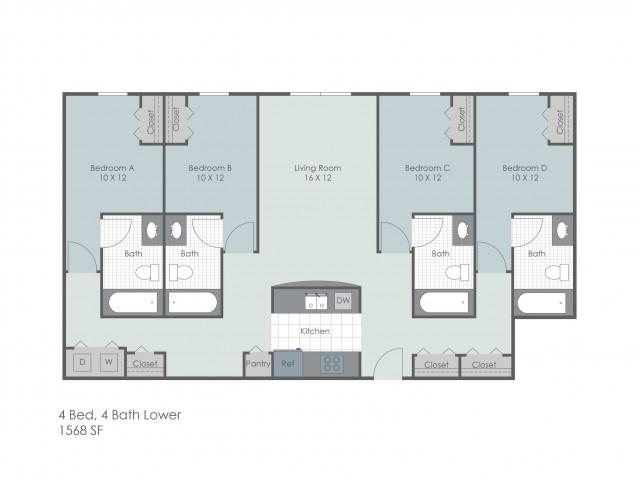 4x4 Bedroom Lower | 22 Exchange | Akron Apartments