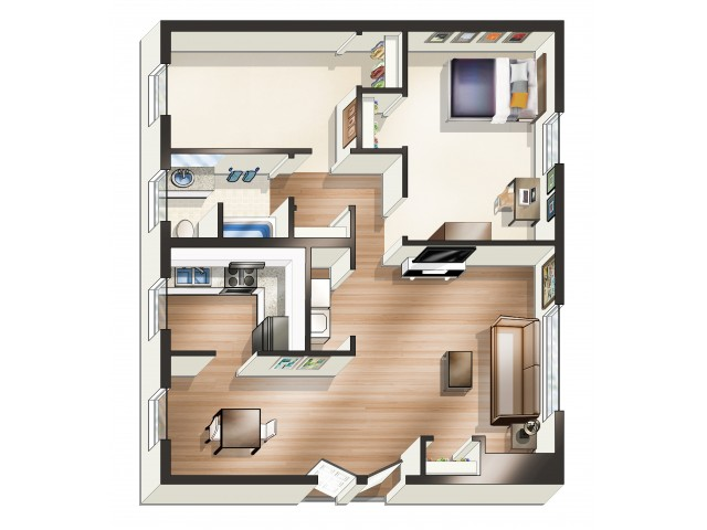 Floor Plans | University Park | 1-Bedroom w/ Bonus Room ...