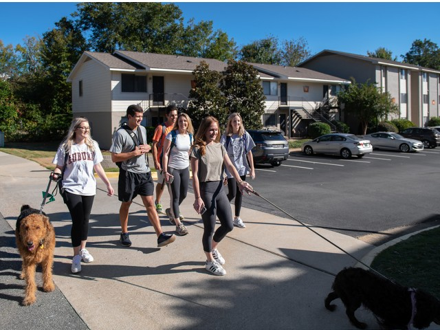 Students Walking to Campus | Eagles West | AU Off Campus Apartments