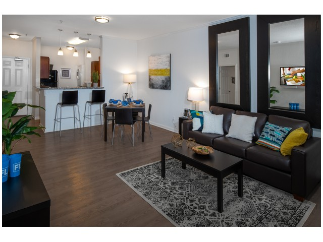 Wood-Style Flooring in Common Area | Luxurious Living Area | Flatts at South Campus | 1,  2, 3, & 4 Bedroom Apartments Oxford MS