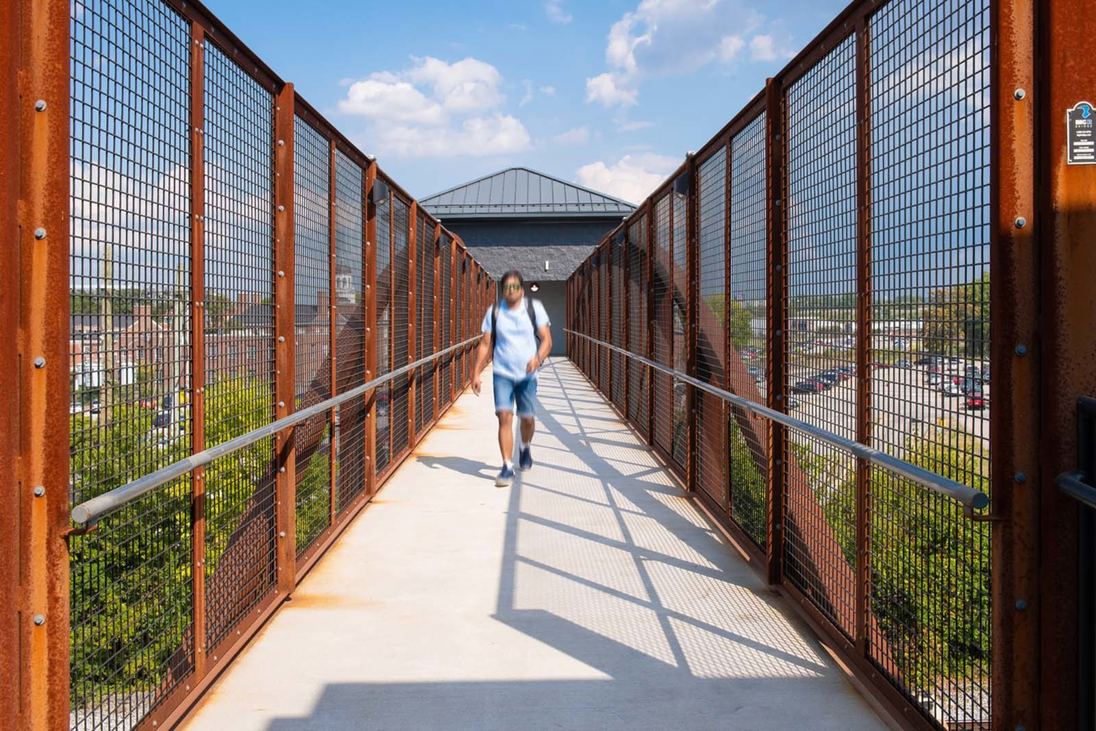 Private Pedestrian Bridge connecting to campus at Trifecta Apartments | Student Apartments In Louisville, KY