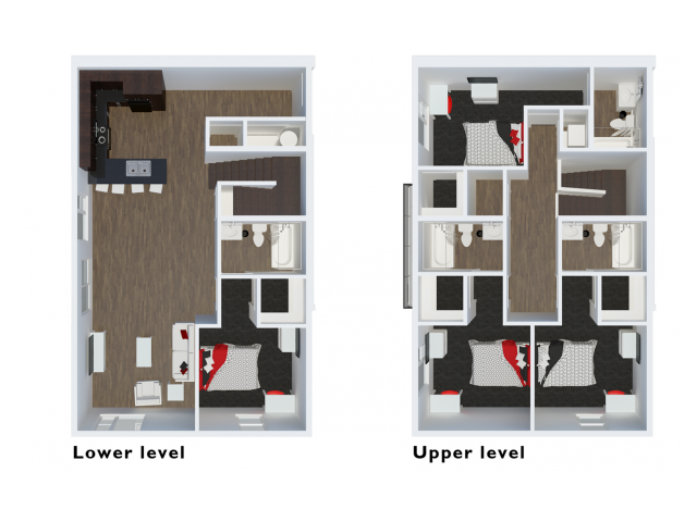 D4 Townhome | 4 Bdrm Floor Plan | The Cardinal at West Center | Apartments In Fayetteville Ar