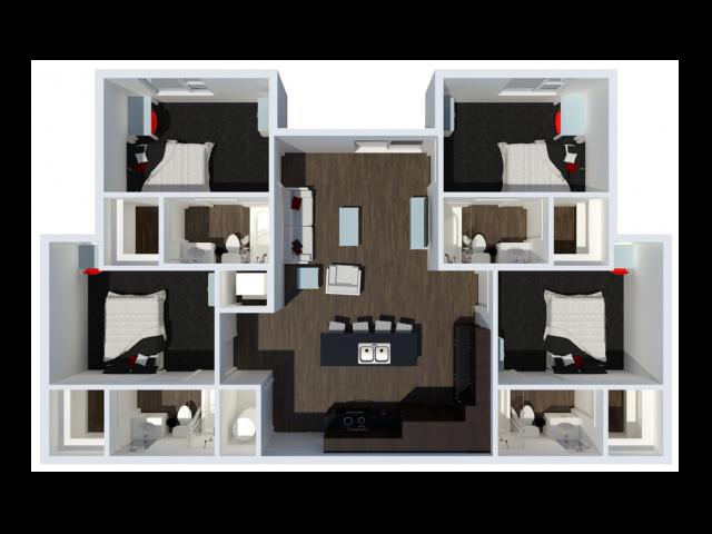 B2B1 | 4 Bdrm Floor Plan | The Cardinal at West Center | Fayetteville AR Apartments