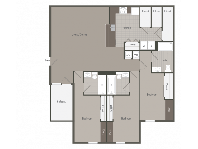3 Bedroom with 3 Bathrooms | The Point at Raiders Campus | Murfreesboro Apartments
