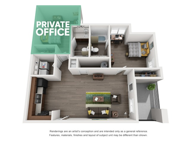 A3 - Unfurnished w Private Office | The Preserve at Tuscaloosa | Tuscaloosa Apartments