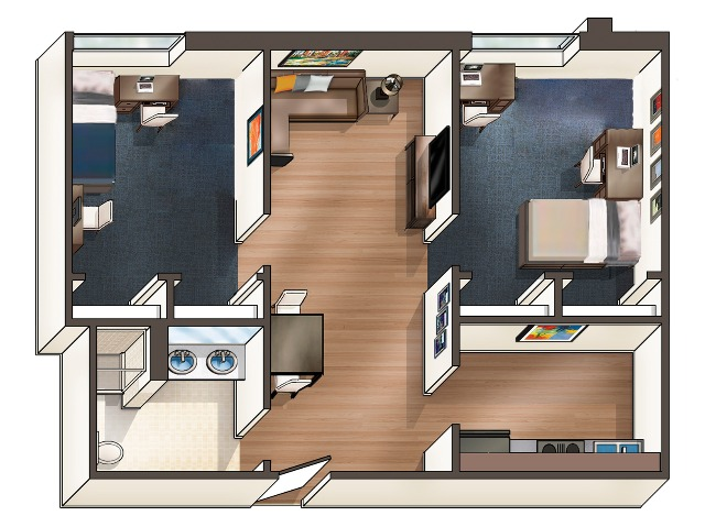 B6 Floor Plan | University Plaza | NIU Apartments