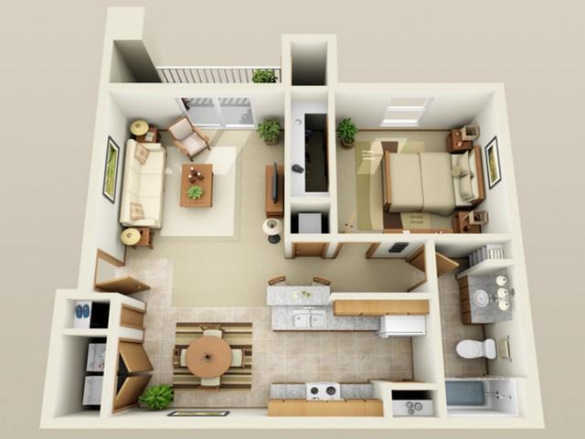 1 Bedroom floor plan Oak Court