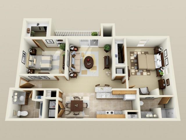 2 Bedroom floor plan Oak Court
