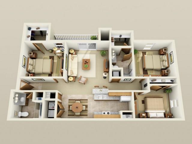 3 Bedroom floor plan Oak Court