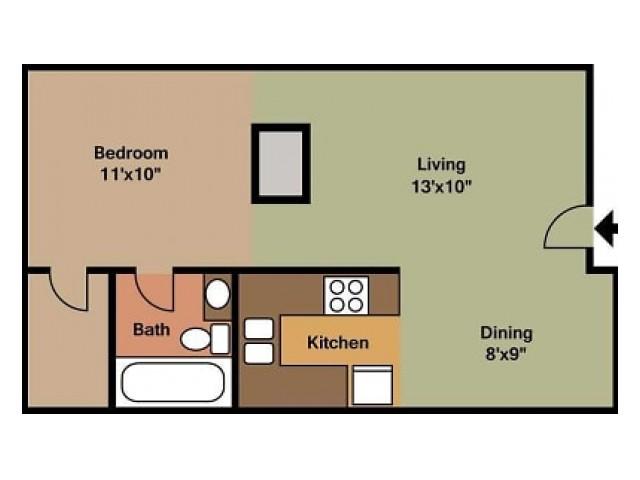 Junior 1 Bedroom floor plan
