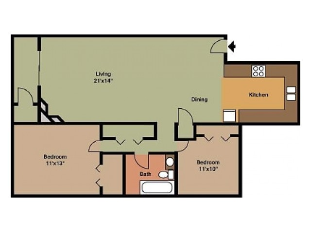 Pebblecreek 2 bedroom, 1 Bathroom Floor Plan
