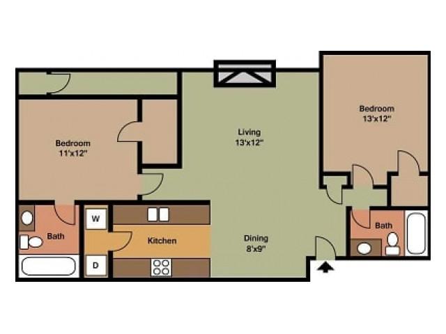 Pebblecreek 2 Bedroom, 2 Bathroom with W/D Connections