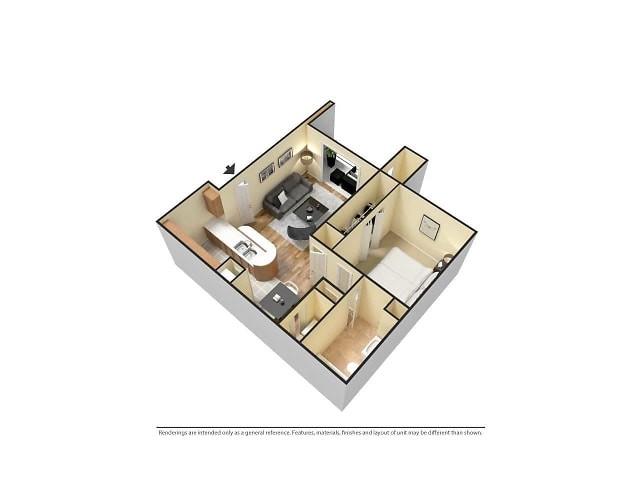 Furnished 3D 1-Bedroom Floor plan Image