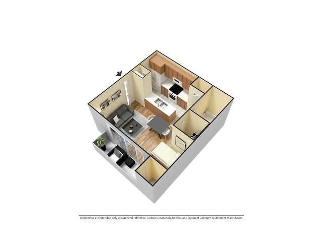 Studio 3D Furnished Floor plan image