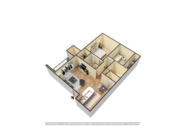 3D Furnished 2-Bedroom Floor Plan Image