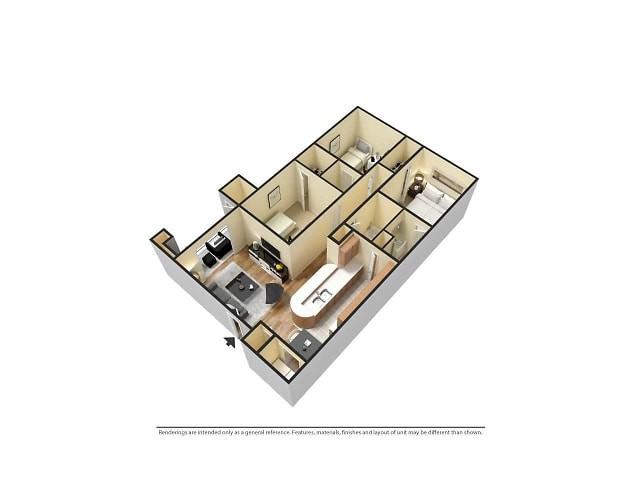 3D Furnished 3-Bedroom Floor Plan Image