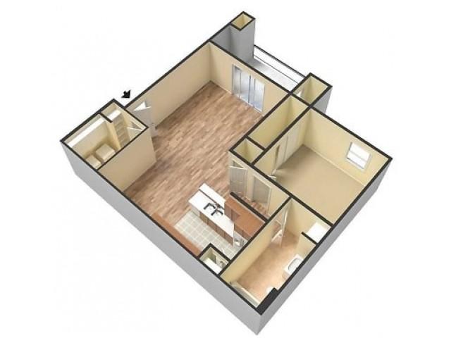 Embassy Ozark 1 Bedroom, 1 Bathroom 3D Floorplan