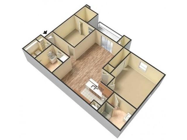 Embassy Ozark 2 bedroom, 2 bathroom floor plan 3D