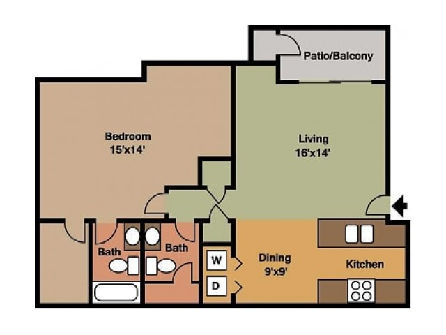 Willow Creek 1 Bedroom, 1.5 Bathroom Floor Plan 2D