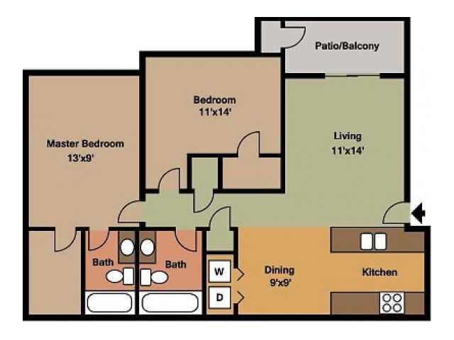Willow Creek 2 Bedroom, 2 Bathroom Floor Plan 3D