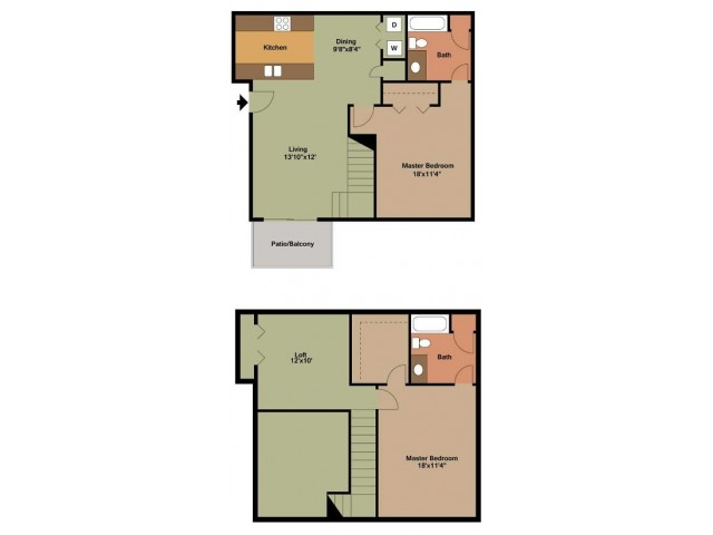 Polo Club 2 Bed  town home 2d floor plan