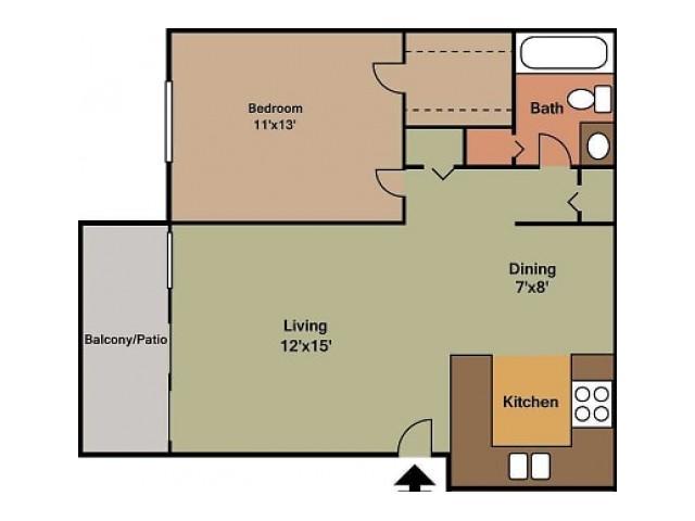 Briarwood Village 1 Bedroom 2D floor plan