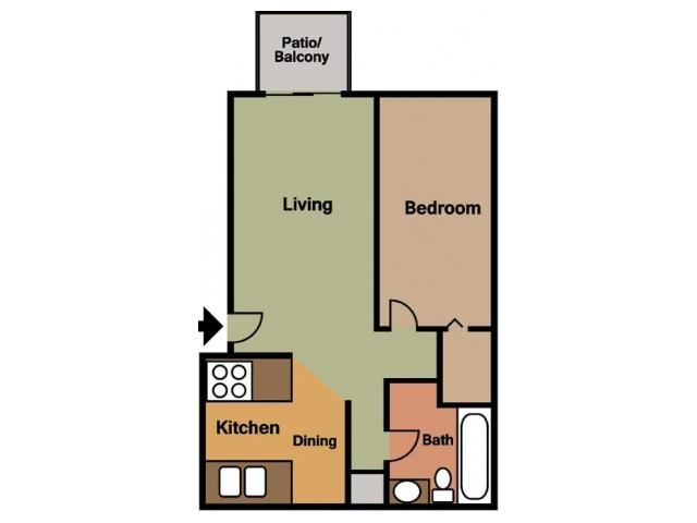 Rosewood Village 1 Bedroom Floor Plan 2D