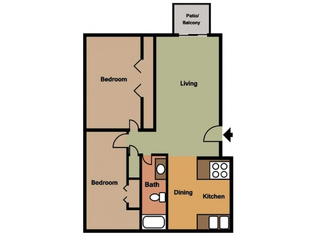 Rosewood Village 2 Bedroom Floor Plan 2D