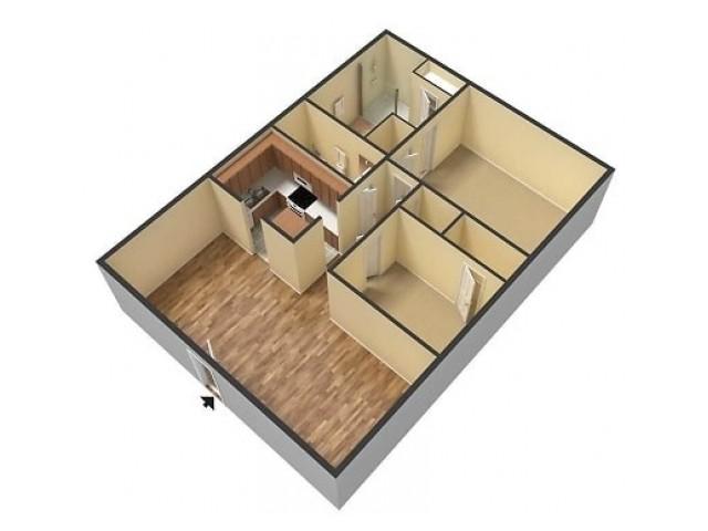 Catalpa East 2 Bedroom Floor plan 3D