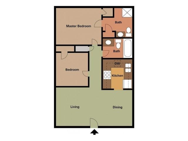 Lombard 2 Bedroom floor plan 2D