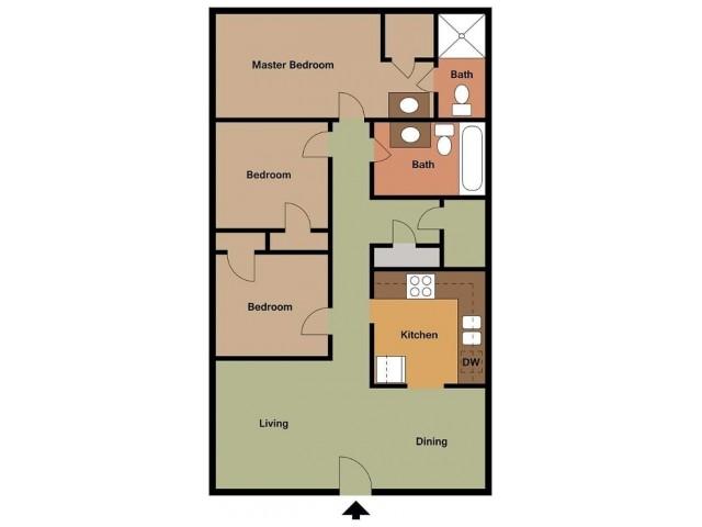 Lombard 3 Bedroom floor plan 2D