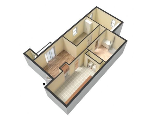 2 Bedroom, 1 Bathroom Floor Plan Embassy Ozark 3D