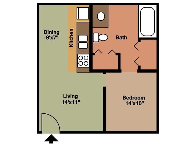 Southwinds 1 Bed floor plan 2D