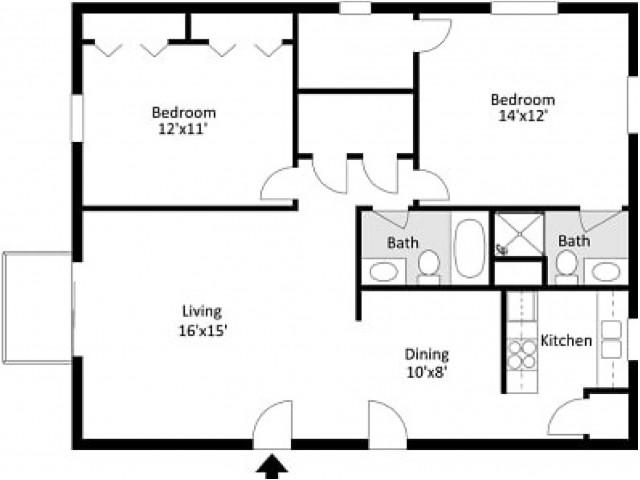 Southwinds 2 Bedroom, 2 Bathroom 2D