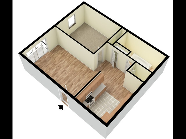 Concord 1 Bedroom 3D Floor Plan