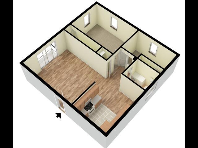 Concord 2 Bedroom W/D Connection 3D Floor Plan